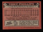 1986 Topps #29  Tony Phillips  Back Thumbnail