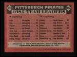 1986 Topps #756   Pirates Leaders Back Thumbnail