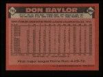 1986 Topps #765  Don Baylor  Back Thumbnail
