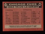 1986 Topps #636   Cubs Leaders Back Thumbnail
