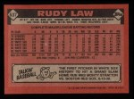 1986 Topps #637  Rudy Law  Back Thumbnail