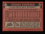1986 Topps #236  Frank Eufemia  Back Thumbnail