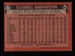 1986 Topps #675  Claudell Washington  Back Thumbnail