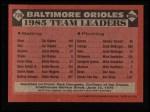 1986 Topps #726   Orioles Leaders Back Thumbnail