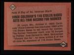 1986 Topps #201   -  Vince Coleman Record Breaker Back Thumbnail