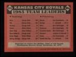 1986 Topps #606   Royals Leaders Back Thumbnail