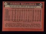1986 Topps #74  Rance Mulliniks  Back Thumbnail