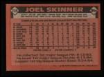 1986 Topps #239  Joel Skinner  Back Thumbnail
