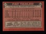 1986 Topps #674  Pat Tabler  Back Thumbnail