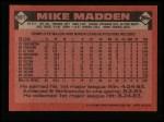 1986 Topps #691  Mike Madden  Back Thumbnail
