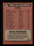 1986 Topps #717   -  Dave Winfield All-Star Back Thumbnail