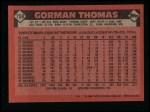 1986 Topps #750  Gorman Thomas  Back Thumbnail