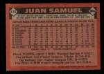 1986 Topps #475  Juan Samuel  Back Thumbnail
