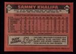 1986 Topps #316  Sammy Khalifa  Back Thumbnail