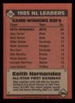1986 Topps #701   -  Keith Hernandez All-Star Back Thumbnail