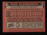 1986 Topps #754  Pat Clements  Back Thumbnail