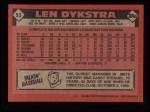 1986 Topps #53  Len Dykstra  Back Thumbnail
