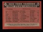 1986 Topps #276   Yankees Leaders Back Thumbnail
