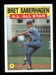 1986 Topps #720   -  Bret Saberhagen All-Star Front Thumbnail