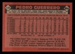 1986 Topps #145  Pedro Guerrero  Back Thumbnail