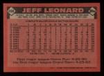 1986 Topps #490  Jeff Leonard  Back Thumbnail