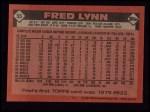 1986 Topps #55  Fred Lynn  Back Thumbnail
