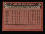 1986 Topps #212  Chris Speier  Back Thumbnail