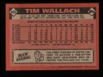 1986 Topps #685  Tim Wallach  Back Thumbnail