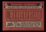 1986 Topps #630  Fernando Valenzuela  Back Thumbnail
