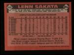 1986 Topps #446  Lenn Sakata  Back Thumbnail
