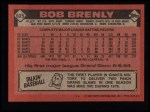 1986 Topps #625  Bob Brenly  Back Thumbnail