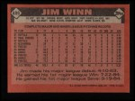 1986 Topps #489  Jim Winn  Back Thumbnail