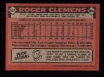 1986 Topps #661  Roger Clemens  Back Thumbnail