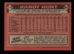 1986 Topps #218  Randy Hunt  Back Thumbnail