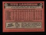 1986 Topps #498  Tito Landrum  Back Thumbnail