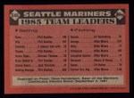 1986 Topps #546   Mariners Leaders Back Thumbnail
