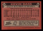 1986 Topps #458  Kevin Bass  Back Thumbnail