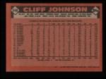 1986 Topps #348  Cliff Johnson  Back Thumbnail