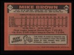 1986 Topps #114  Mike C. Brown  Back Thumbnail