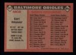1986 Topps #321  Earl Weaver  Back Thumbnail