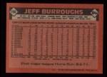 1986 Topps #168  Jeff Burroughs  Back Thumbnail