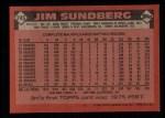 1986 Topps #245  Jim Sundberg  Back Thumbnail