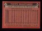1986 Topps #82  Tippy Martinez  Back Thumbnail