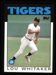 1986 Topps #20  Lou Whitaker  Front Thumbnail