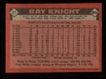 1986 Topps #27  Ray Knight  Back Thumbnail