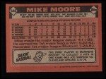 1986 Topps #646  Mike Moore  Back Thumbnail