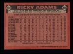 1986 Topps #153  Ricky Adams  Back Thumbnail