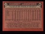 1986 Topps #134  Carney Lansford  Back Thumbnail