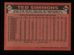 1986 Topps #237  Ted Simmons  Back Thumbnail