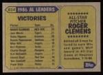 1987 Topps #614   -  Roger Clemens All-Star Back Thumbnail